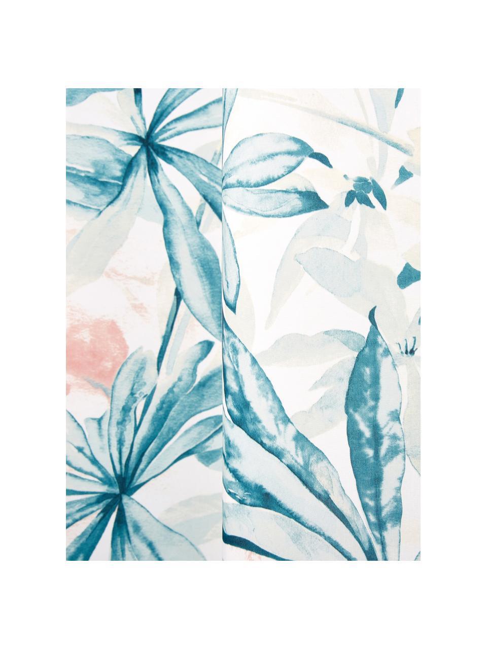 Rideau de douche imprimé tropical Foglia, Blanc, multicolore