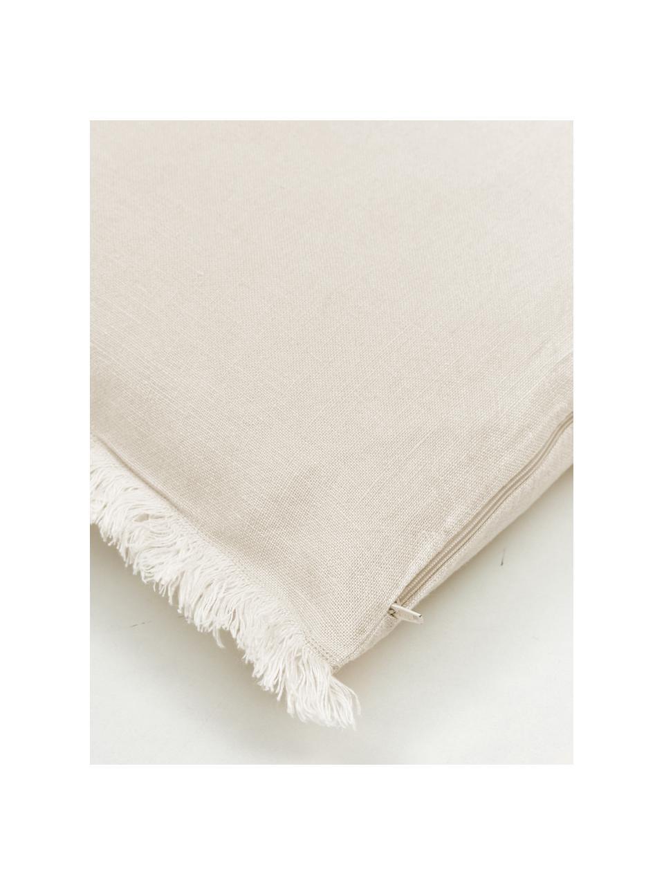 Poszewka na poduszkę z lnu z frędzlami Luana, 100% len, Beżowy, S 50 x D 50 cm