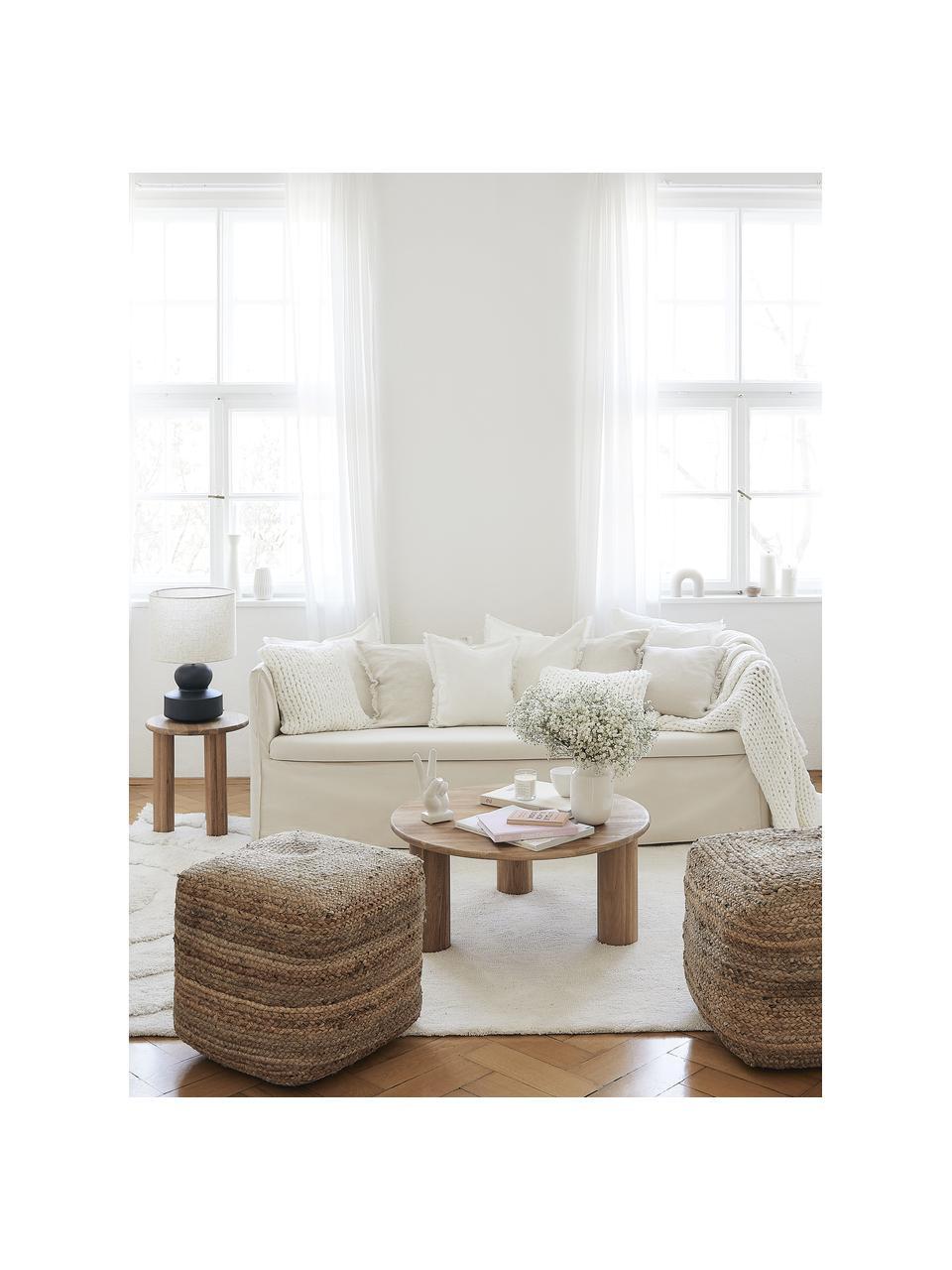 Linnen kussenhoes Luana in lichtbeige met franjes, 100% linnen, Beige, 50 x 50 cm
