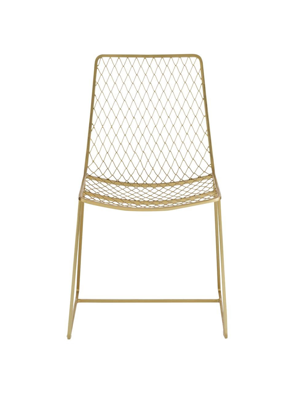 Krzesło Kira, Metal mosiądzowany, Odcienie mosiądzu, S 50 x W 86 cm