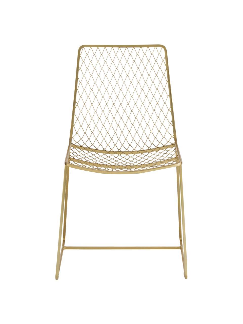 Sedia in metallo ottonato Kira, Metallo ottonato, Ottonato, Larg. 50 x Prof. 52 cm