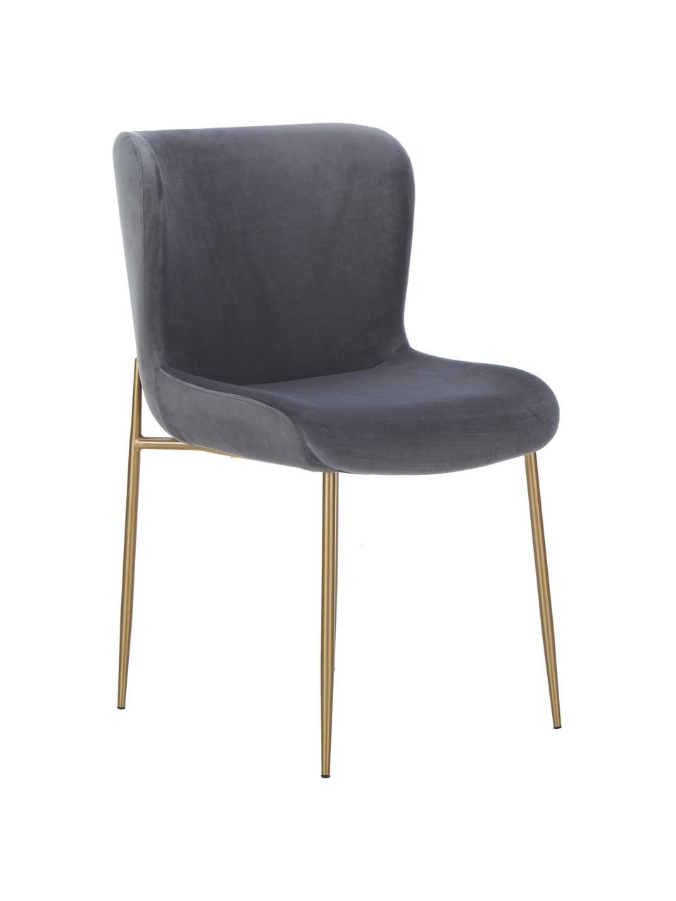 Sedia imbottita in velluto Tess, Rivestimento: velluto (poliestere) Con , Gambe: metallo rivestito, Velluto antracite, gambe dorate, Larg. 49 x Alt. 64 cm