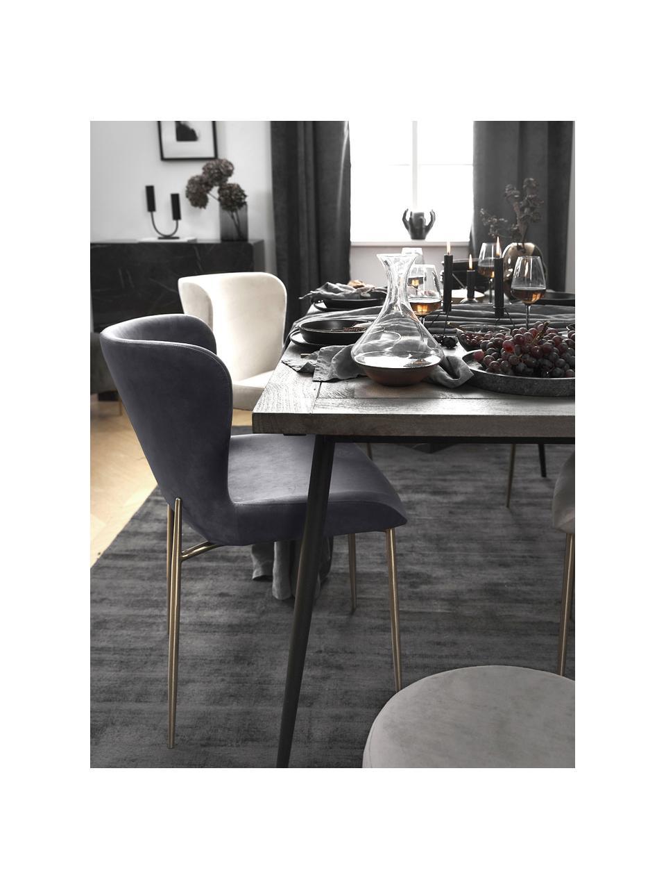 Fluwelen stoel Tess in donkergrijs, Bekleding: fluweel (polyester), Poten: gepoedercoat metaal, Fluweel donkergrijs, goudkleurig, B 49 x D 64 cm
