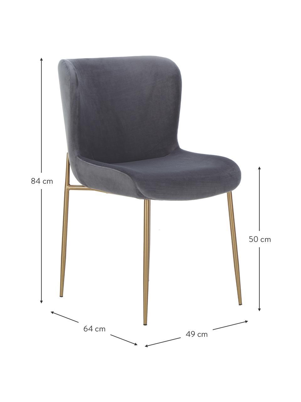 Samt-Polsterstuhl Tess in Anthrazit, Bezug: Samt (Polyester) Der hoch, Beine: Metall, beschichtet, Samt Anthrazit, Beine Gold, B 49 x T 64 cm