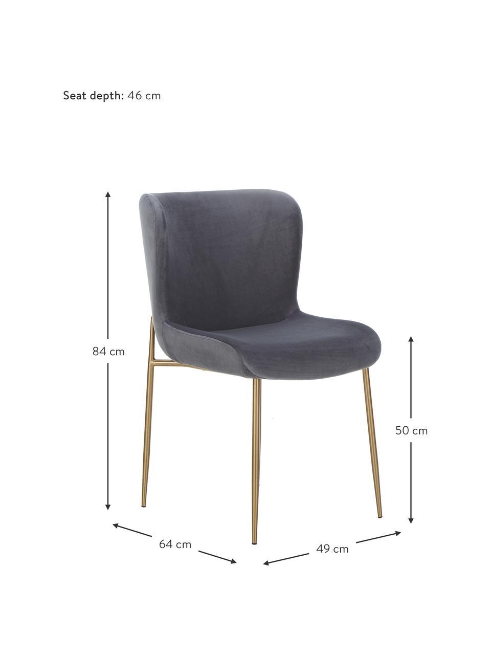 Chaise velours rembourrée Tess, Velours gris foncé, or