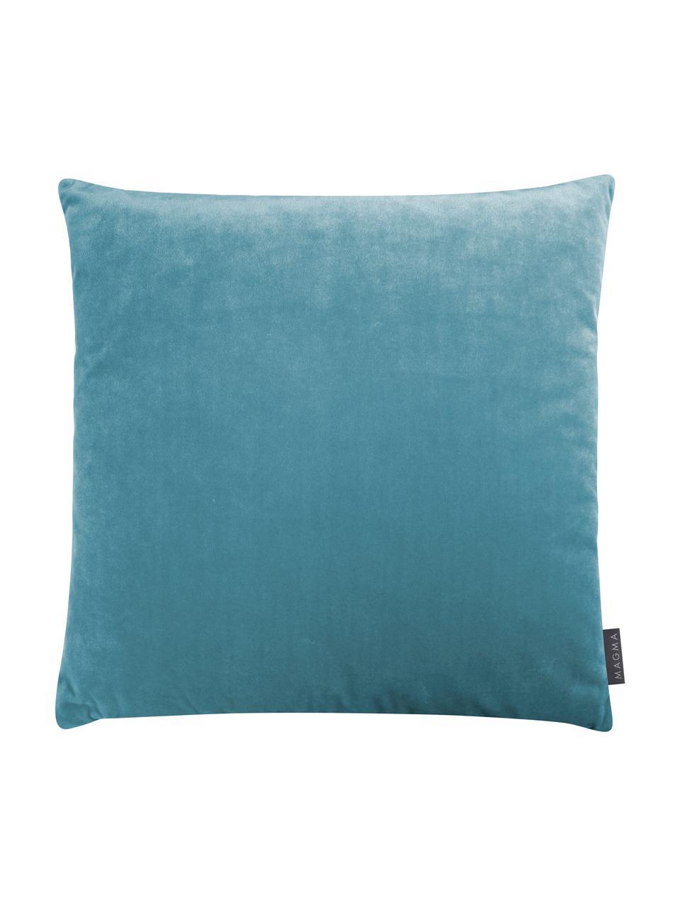 Kissenhülle Tilas mit Hoch-Tief-Muster & Samt-Rückseite, Vorderseite: 87%Polyester, 13%Baumwo, Rückseite: Polyestersamt, Mintblau, Creme, 40 x 40 cm