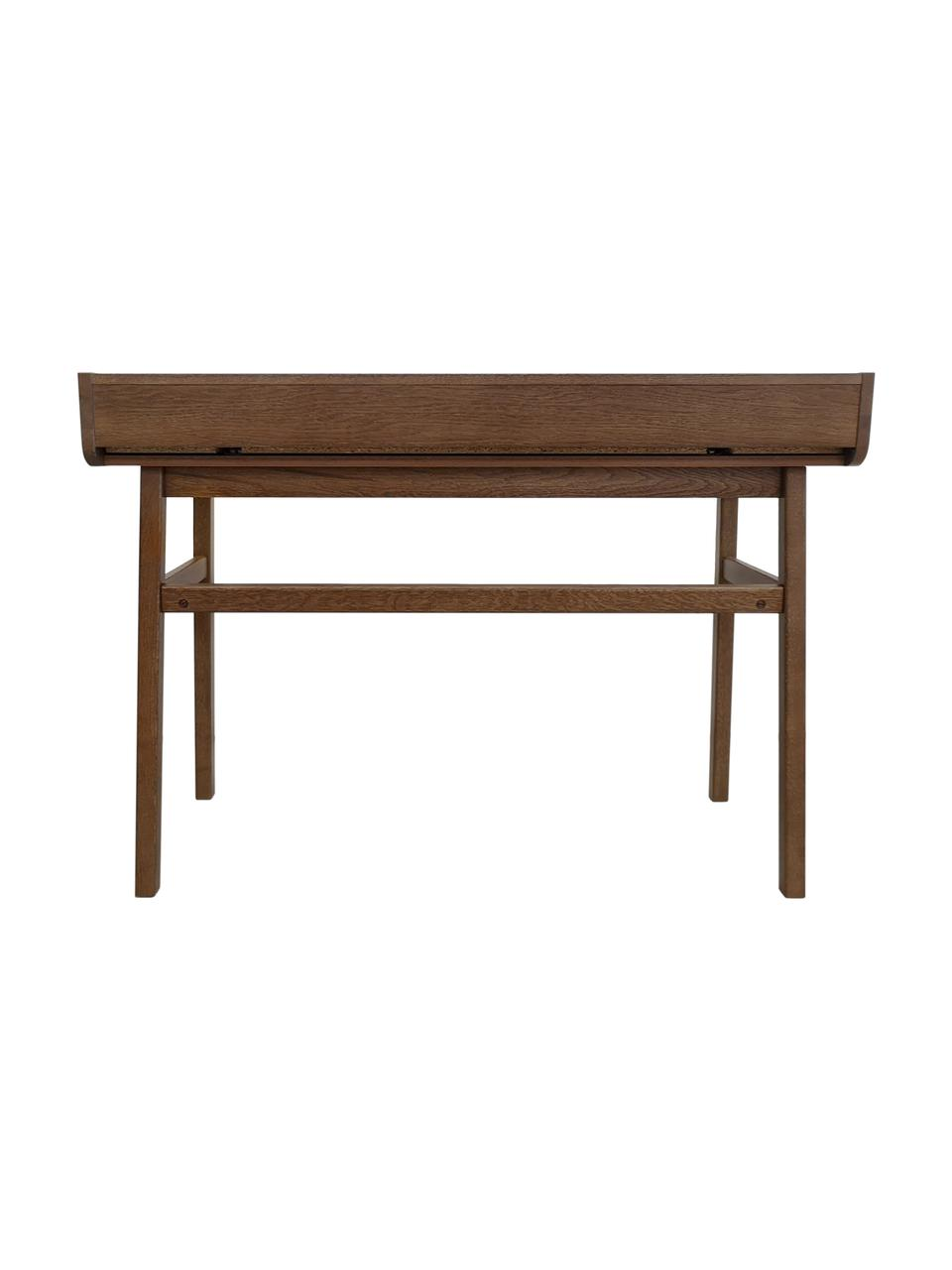 Escritorio estrecho Carteret, Patas: madera de roble maciza cu, Tablero: aglomerado chapado en mad, Marrón oscuro, An 115 x Al 84 cm