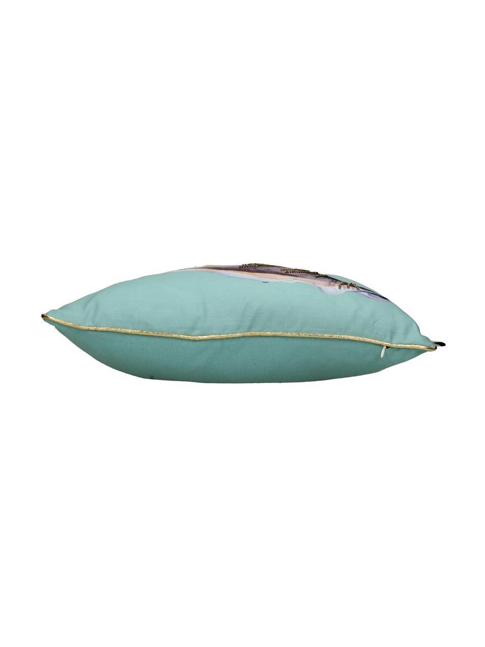 Outdoor-Kissen Shell mit kleinen bestickten Perlen, mit Inlett, Türkis, Mehrfarbig, 45 x 45 cm