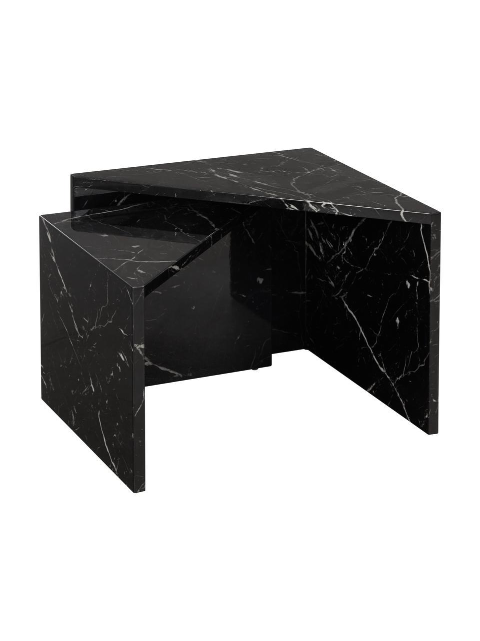 Komplet stolików kawowych z imitacji marmuru Vilma, 2 elem., Płyta pilśniowa średniej gęstości (MDF) pokryta lakierem z wzorem marmurowym, Czarny, wzór marmurowy, błyszczący, Komplet z różnymi rozmiarami