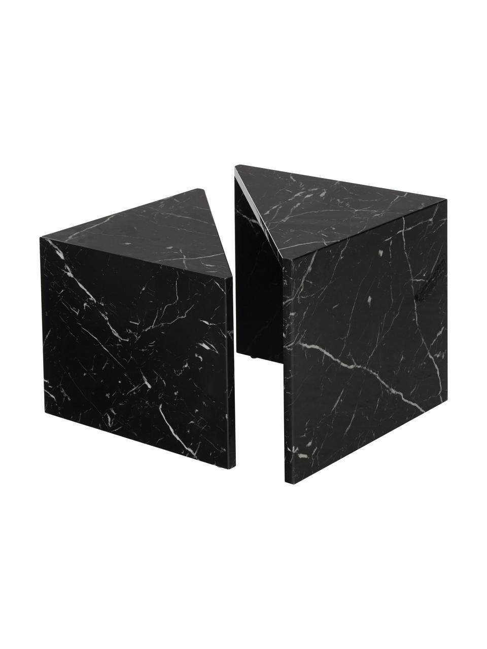 Bijzettafelset Vilma in marmerlook, MDF bedekt met gelakt papier in marmerlook, Zwart, gemarmerd, glanzend, Set met verschillende formaten