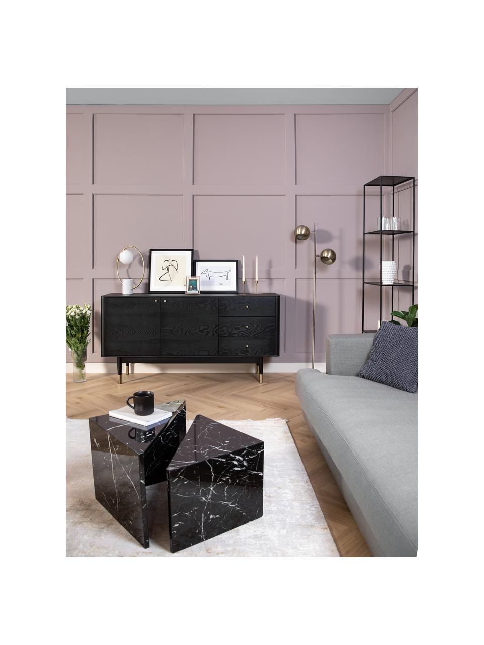 Set 2 tavolini da salotto effetto marmo Vilma, Pannello di fibre a media densità (MDF) rivestito con carta effetto marmo laccata, Nero, marmorizzato lucido, Set in varie misure