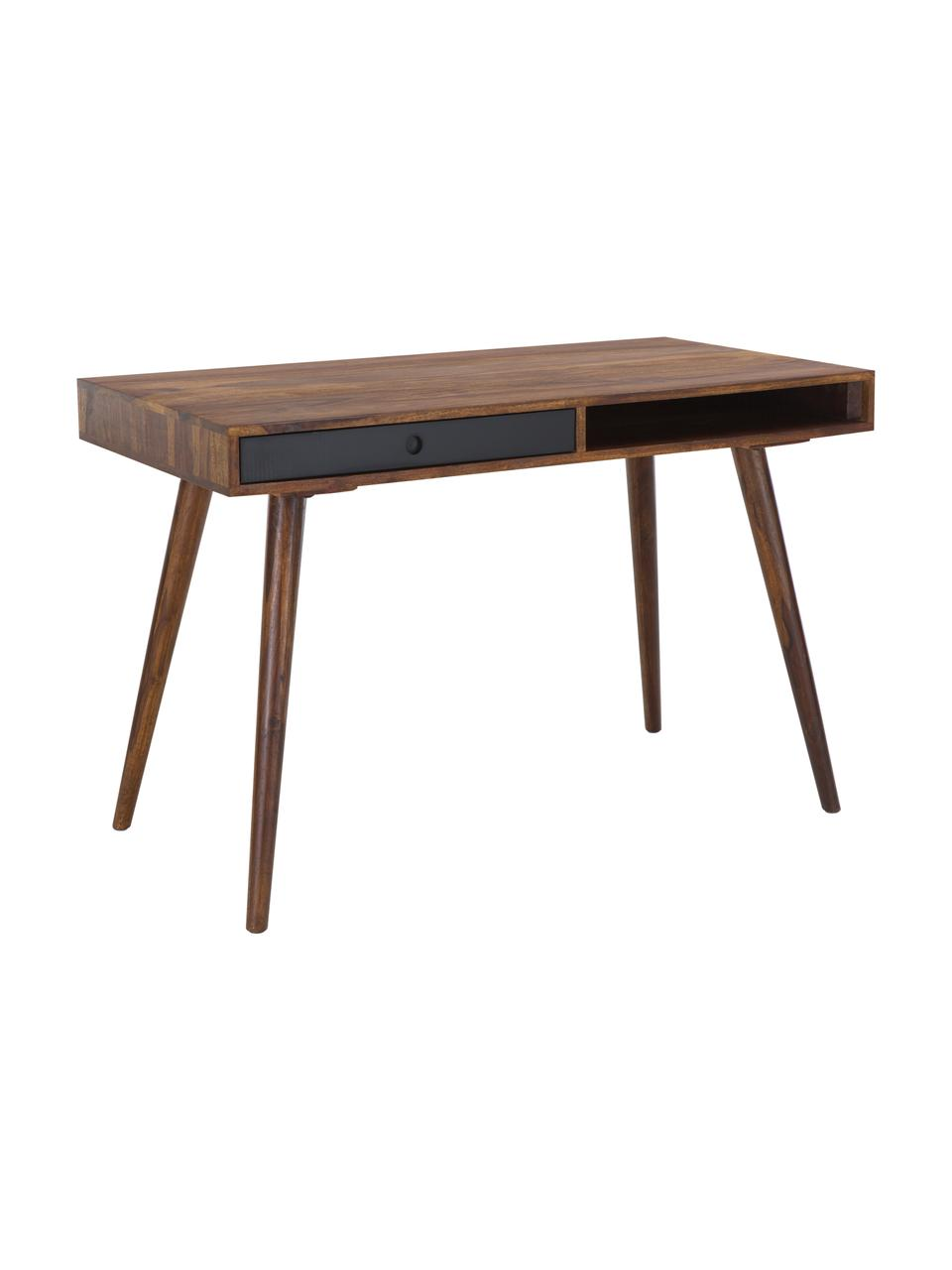 Biurko z litego drewna Repa, Drewno palisandrowe, lite, lakierowane, Drewno palisandrowe, czarny, S 117 x G 60 cm