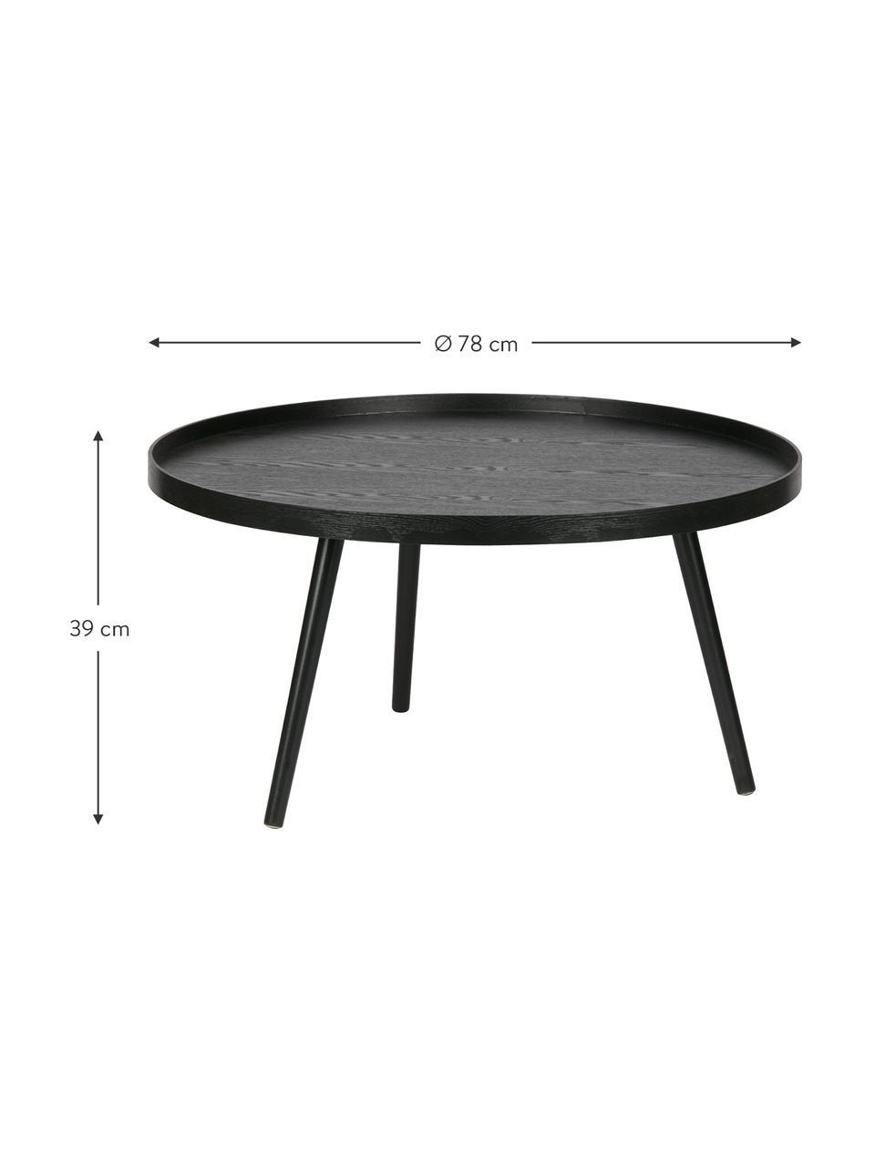 Ronde Retro-salontafel Mesa van hout, MDF met gelakt grenenhoutfineer, Zwart, Ø 78 cm