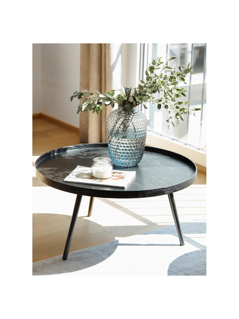 Okrągły stolik kawowy z drewna w stylu retro Mesa, Płyta pilśniowa średniej gęstości (MDF) z fornirem sosnowym, lakierowana, Czarny, Ø 78 cm