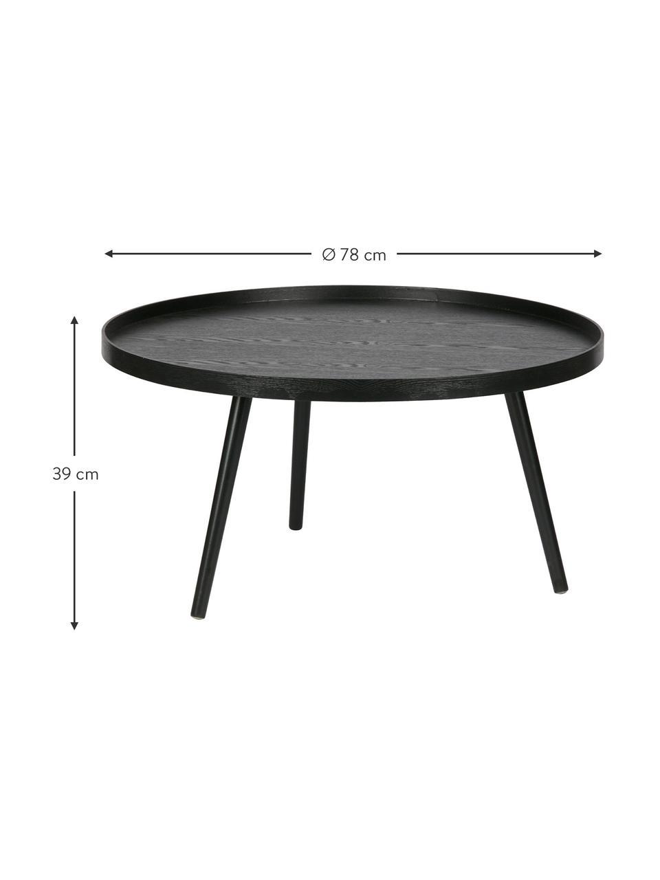 Table basse rétro ronde en bois Mesa, Revêtement: noir Pieds: noir