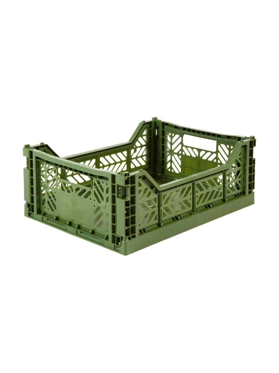 Cesto medio pieghevole e impilabile Midi, Materiale sintetico riciclato, Kaki, Larg. 40 x Alt. 14 cm