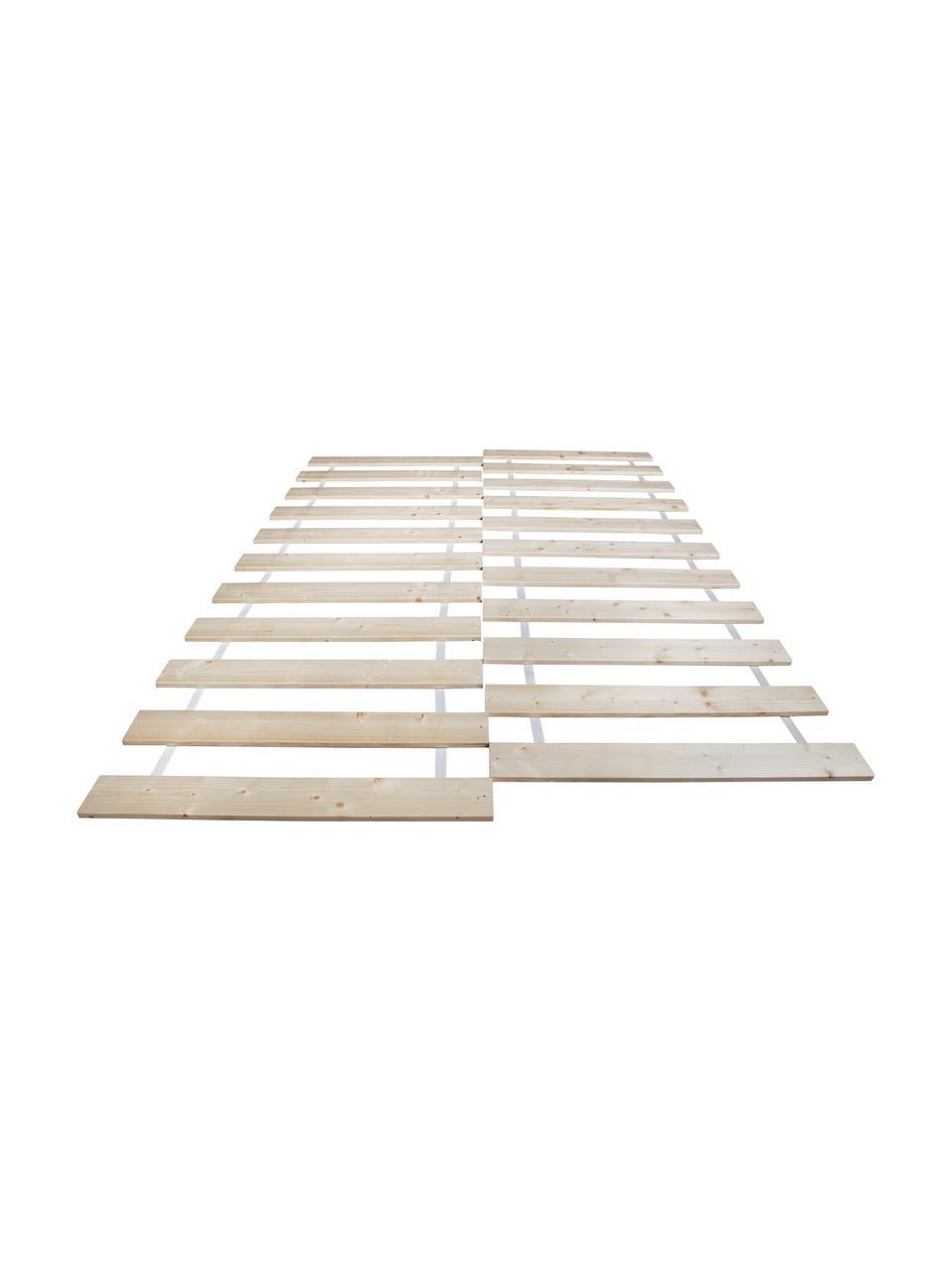 Set 2 doghe avvolgibili Juan Carlos, Strisce: legno di abete massiccio, Strisce: legno chiaro Copertura: bianco, Larg. 180 x Lung. 200 cm