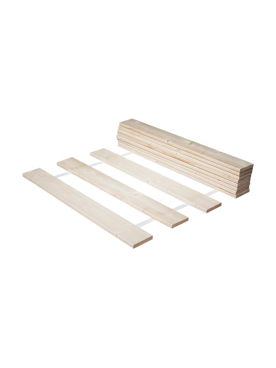 Lattenbodem Juan Carlos, 2-delig, Lijstwerk: licht houtkleurig. Deksel: wit, 160 x 200 cm