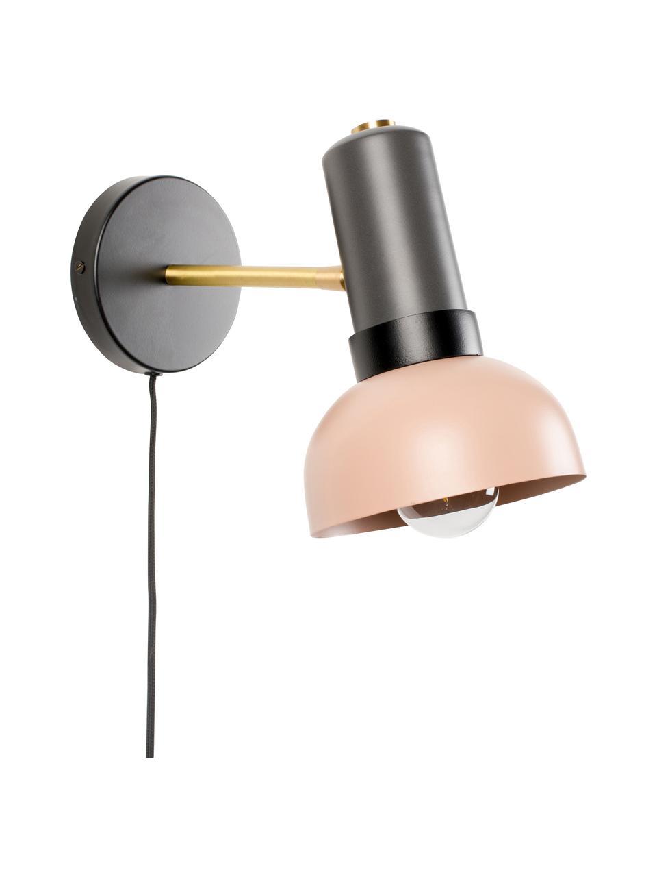 Wandleuchte Charlie mit Stecker, Lampenschirm: Metall, beschichtet, Dekor: Metall, beschichtet, Grau, Rosa, 15 x 21 cm
