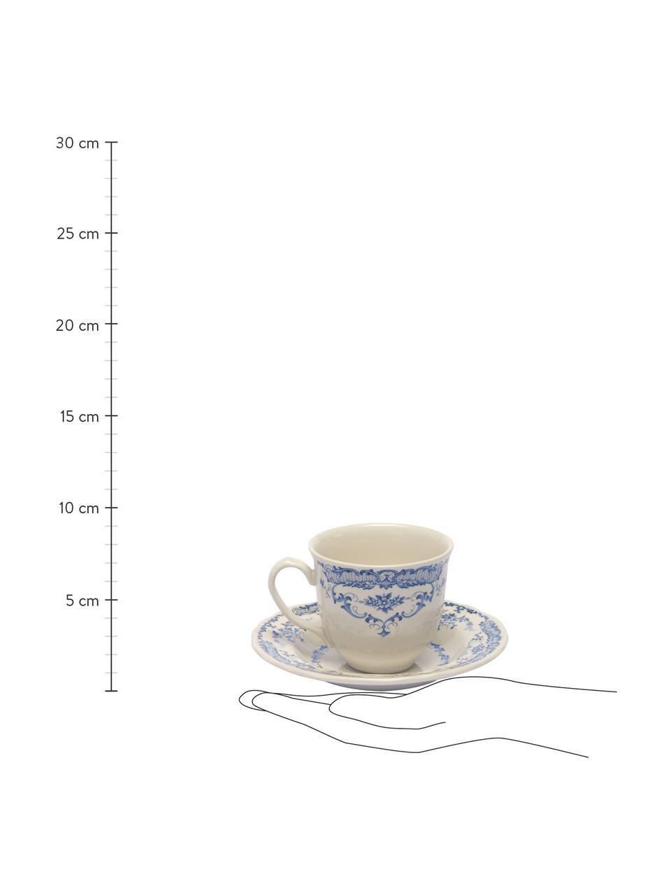 Tasses à espresso avec sous-tasses vintage bleu Rose, 2pièces, Blanc, bleu