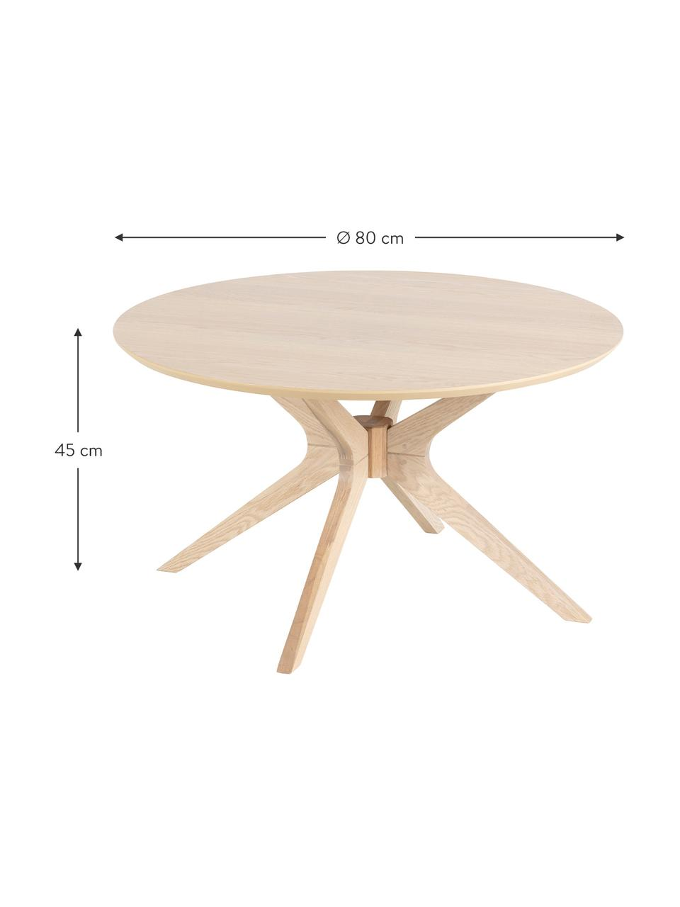 Ronde salontafel Duncan van eikenhout, Tafelblad: MDF, eikenhoutfineer, Poten: massief eikenhout, Eikenhoutkleurig, Ø 80 x H 45 cm