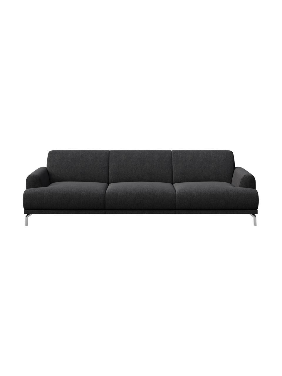 Sofa Puzo (3-osobowa), Tapicerka: 100% poliester, Nogi: metal lakierowany, Ciemnyszary, S 240 x G 84 cm