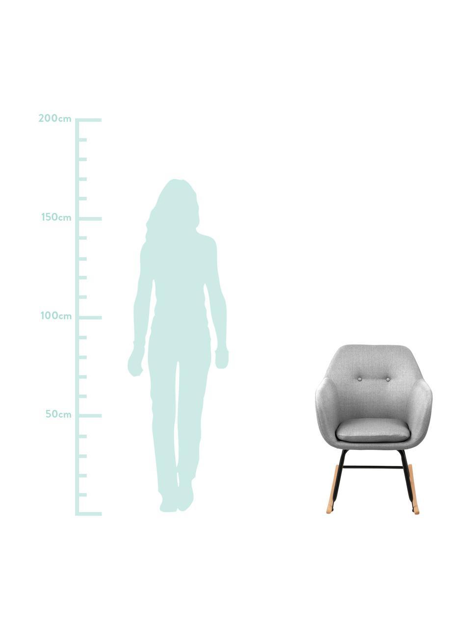 Schommelstoel Emilia, Bekleding: 90% polyester, 8% viscose, Poten: gepoedercoat metaal, Bekleding: lichtgrijs. Poten: zwart. Onderstel: beukenhoutkleurig, 57 x 69 cm