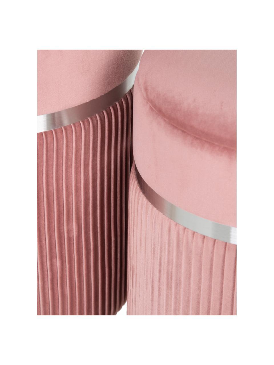 Samt-Hocker-Set Chest mit Stauraum, 2-tlg., Bezug: Polyester (Samt), Rosa, Silberfarben, Sondergrößen
