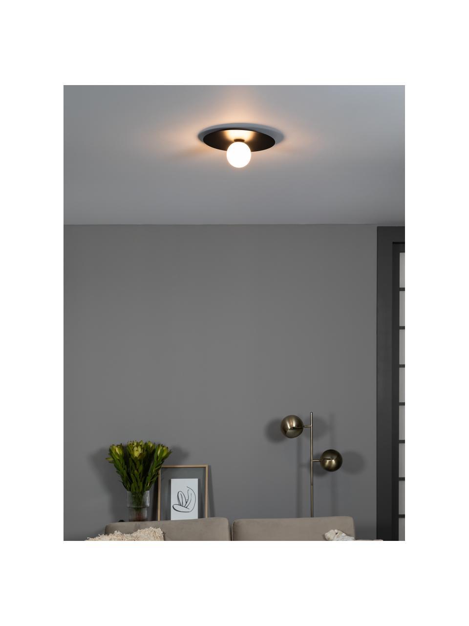 Wand- en plafondlamp Lobero van glas, Baldakijn: gecoat metaal, Lampenkap: opaalglas, Zwart, wit, Ø 30 x H 13 cm
