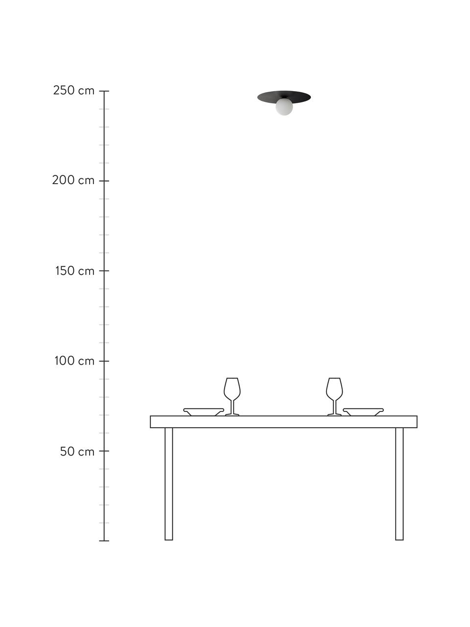 Kinkiet/lampa sufitowa ze szkła Lobero, Czarny, biały, Ø 30 x W 13 cm