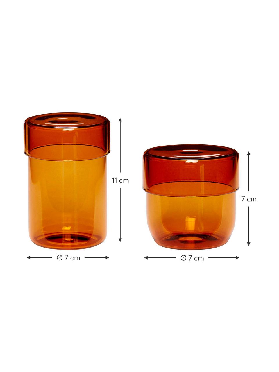 Boîte en verre ambré Transisto, 2élém., Ambré