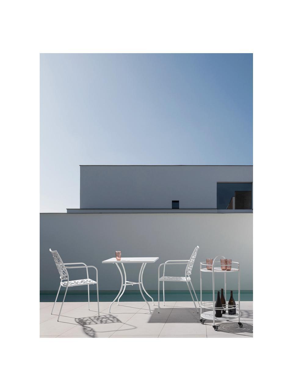 Krzesło ogrodowe z metalu Kelsie, Metal malowany proszkowo, Biały, S 55 x G 54 cm