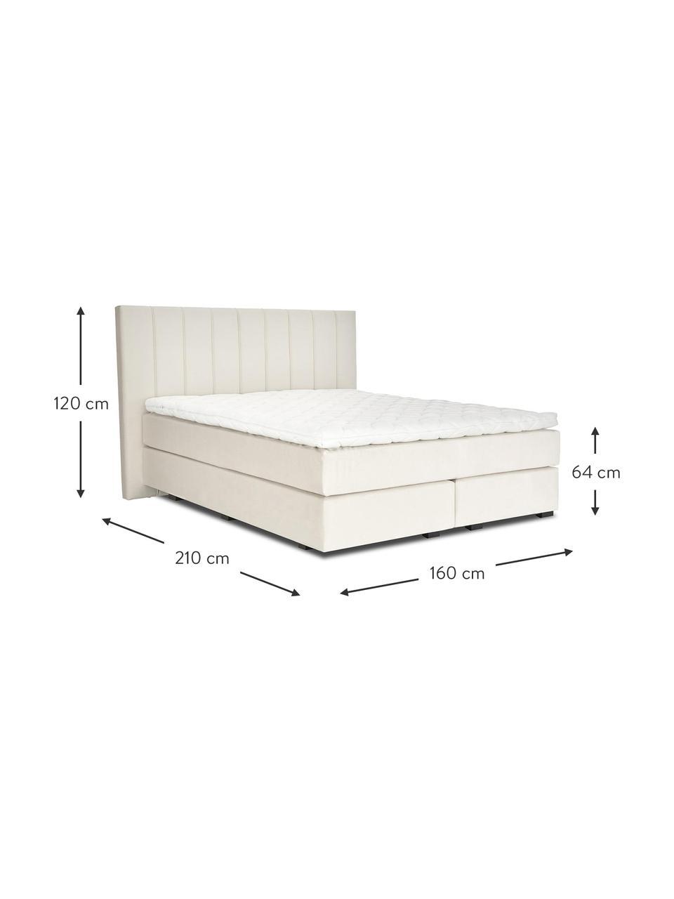Łóżko kontynentalne premium z aksamitu Lacey, Nogi: lite drewno bukowe, lakie, Beżowy, S 200 x D 200 cm