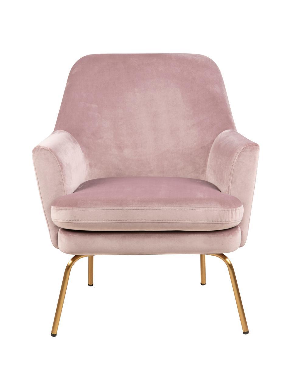 Poltrona in velluto rosa Chisa, Rivestimento: poliestere Con 25.000 cic, Gambe: metallo verniciato, Velluto rosa, Larg. 68 x Prof. 73 cm