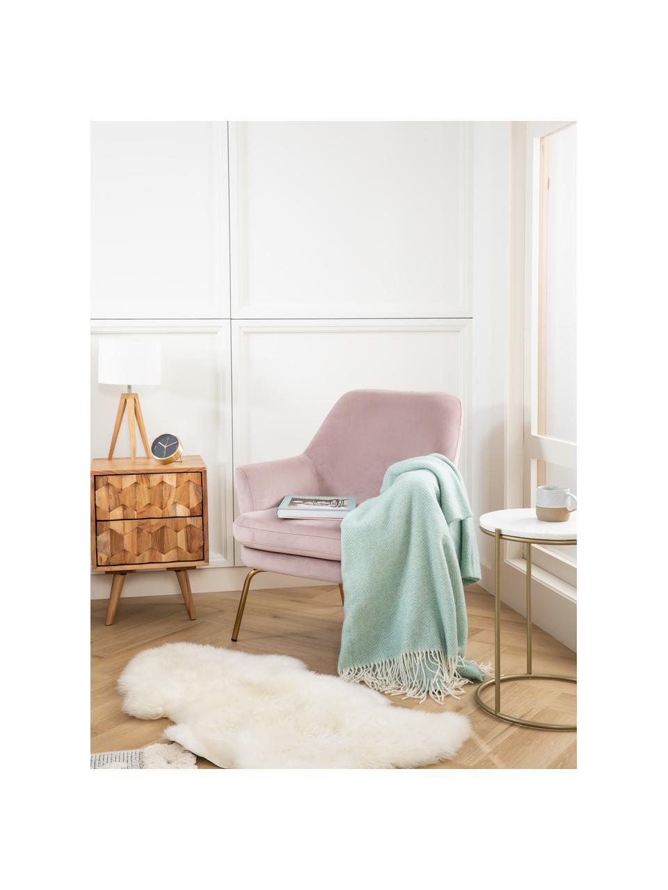 Fluwelen fauteuil Chisa in roze, Bekleding: polyester fluweel, Poten: gelakt metaal, Fluweel roze, B 68 x D 73 cm