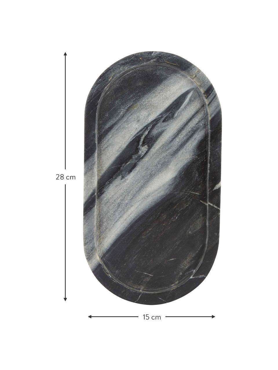 Plateau décoratif en marbre Oval, Noir, gris