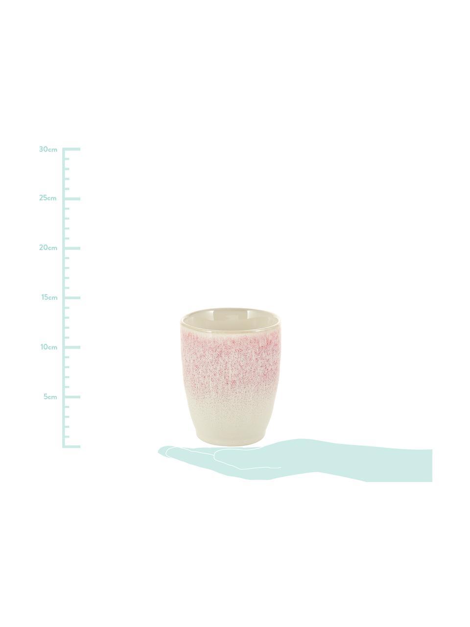 Tazza senza manico fatta a mano con smalto Amalia 2 pz, Porcellana, Rosa chiaro, bianco crema, Ø 10 x Alt. 11 cm