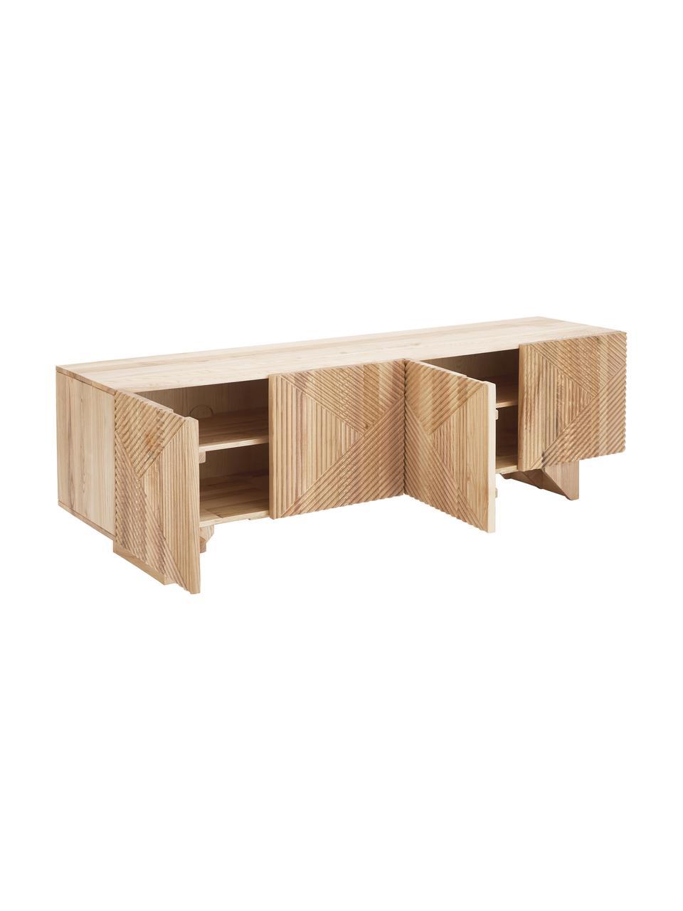 Szafka niska z litego drewna jesionowego z drzwiczkami Louis, Drewno jesionowe, S 180 x W 55 cm