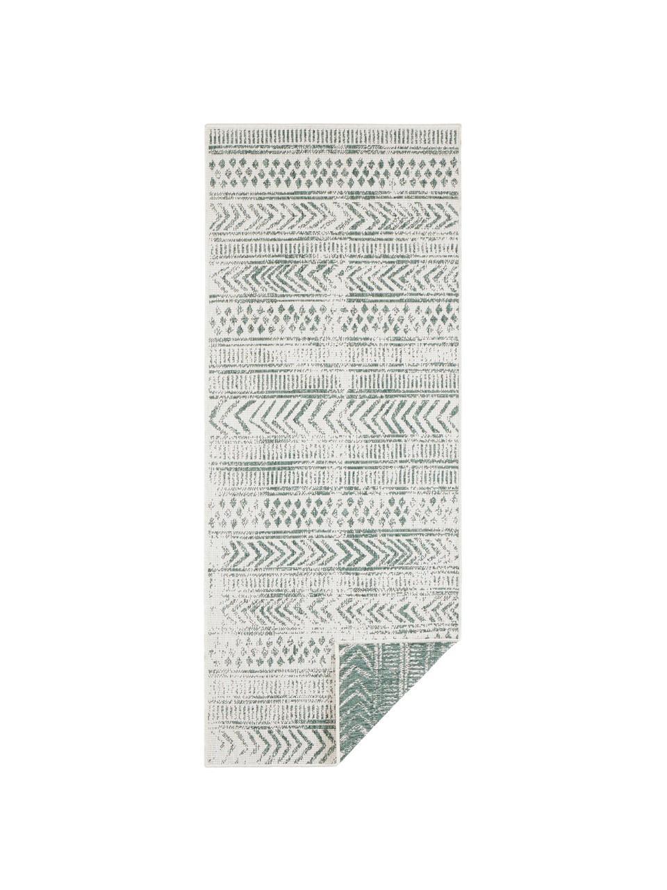 Gemusterter In- & Outdoor-Wendeläufer Biri in Grün/Creme, 100% Polypropylen, Grün, Creme, 80 x 350 cm