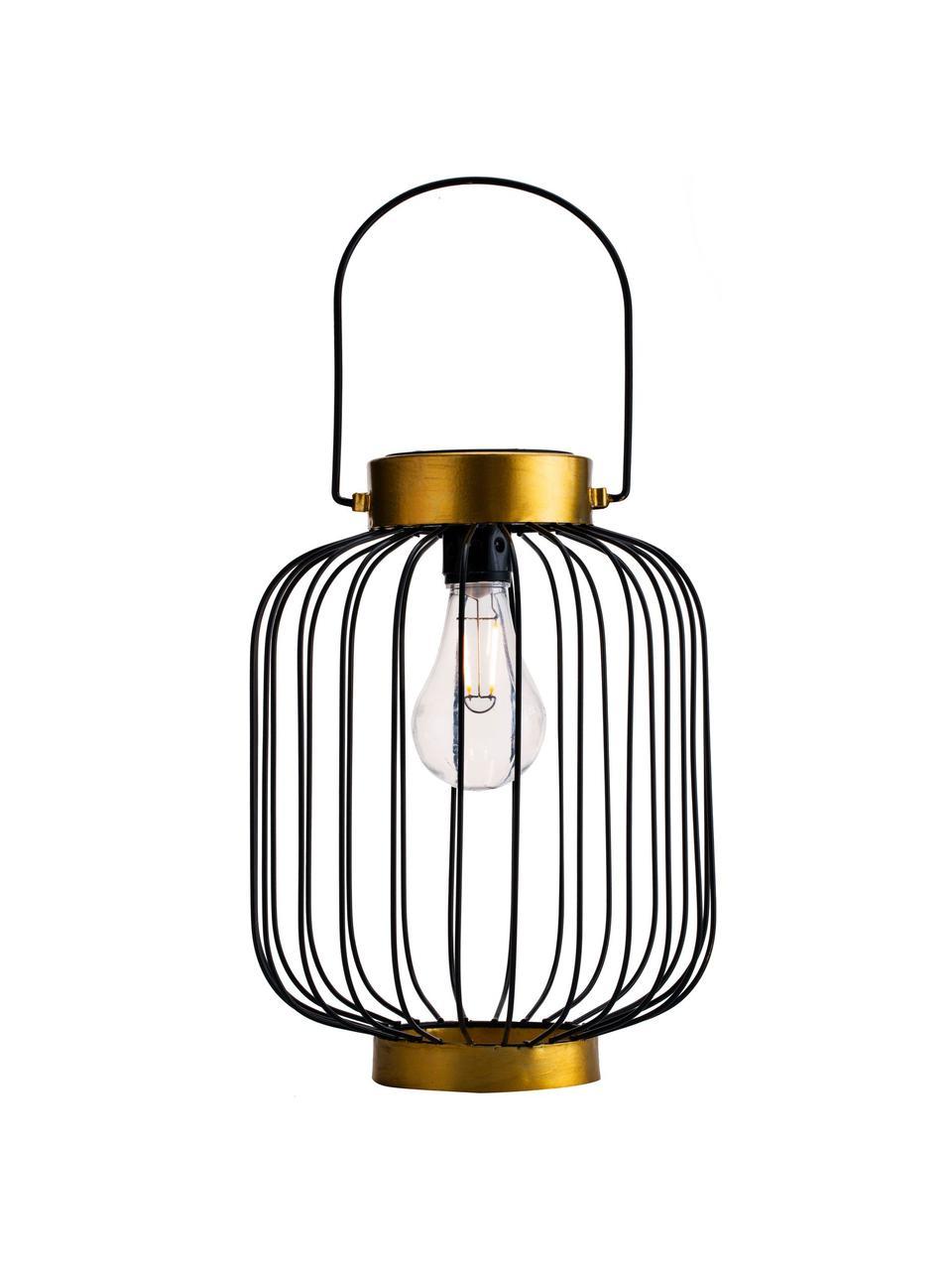 Solar Außenleuchte Wonder zum Hängen oder Stellen, Leuchte: Metall, Lampenschirm: Kunststoff, Schwarz, Goldfarben, Ø 19 x H 29 cm
