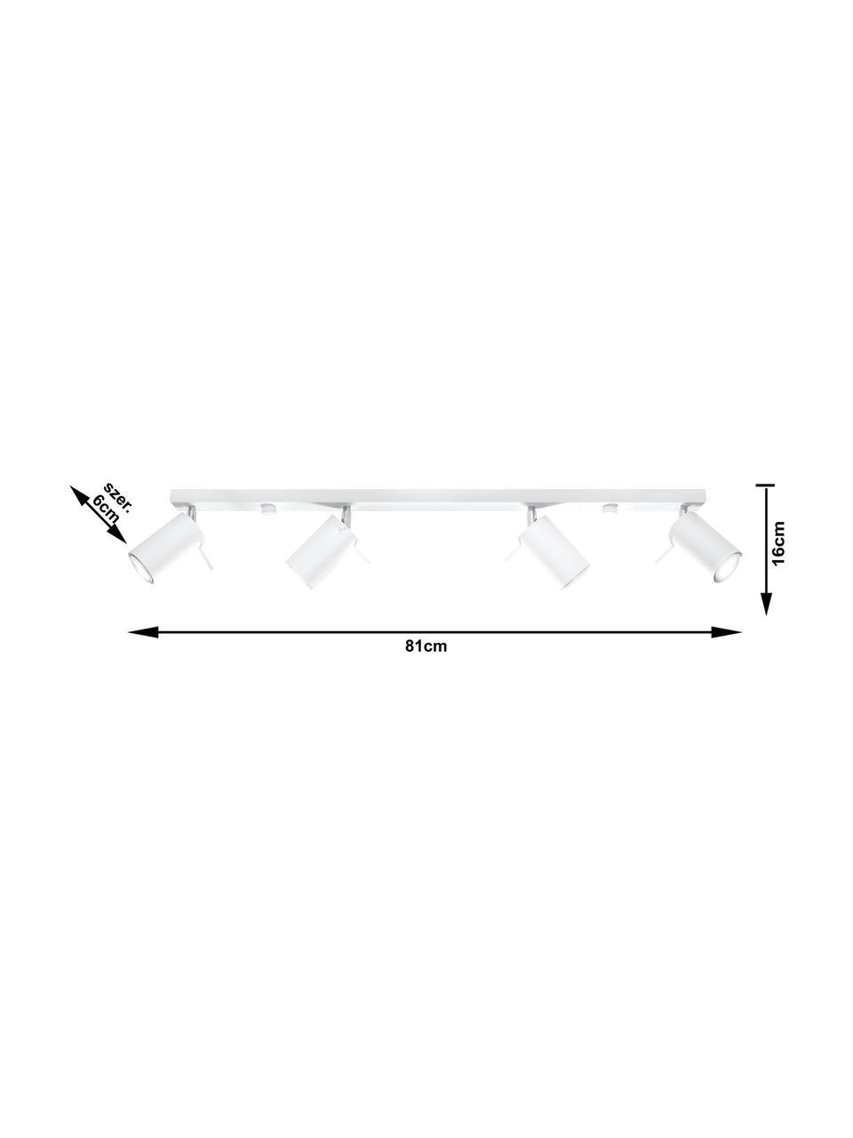 Deckenstrahler Etna in Weiß, Baldachin: Stahl, lackiert, Weiß, 81 x 16 cm