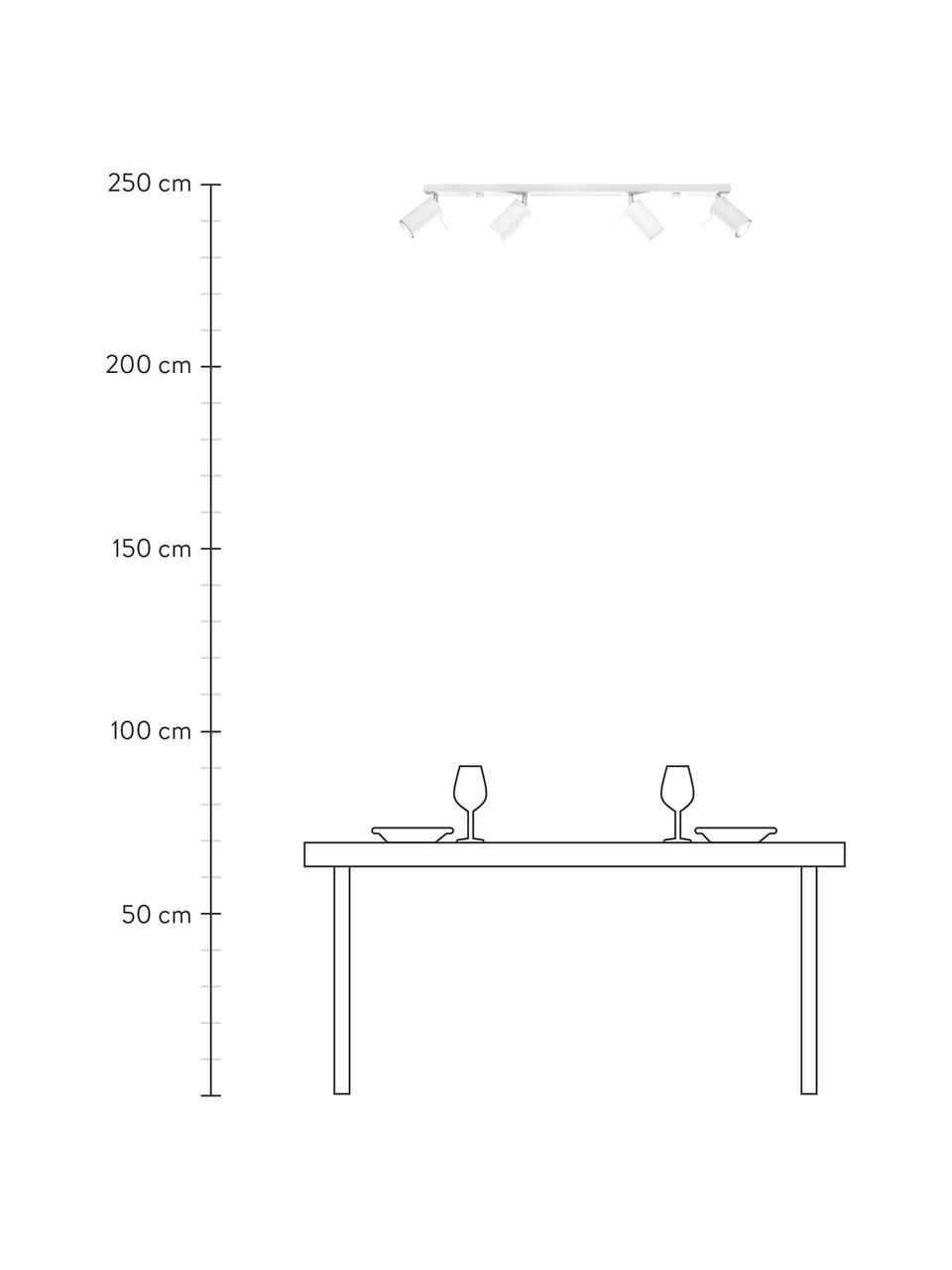 Faretti da soffitto bianchi Etna, Paralume: acciaio verniciato, Baldacchino: acciaio verniciato, Bianco, Larg. 81 x Alt. 16 cm