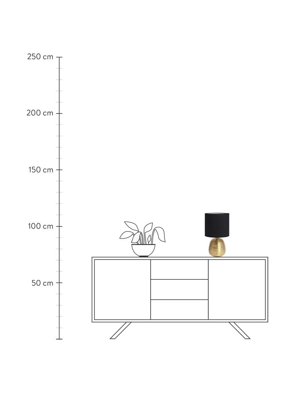 Lampa stołowa z ceramiki Oscar, Czarny, odcienie złotego, Ø 20 x 39 cm