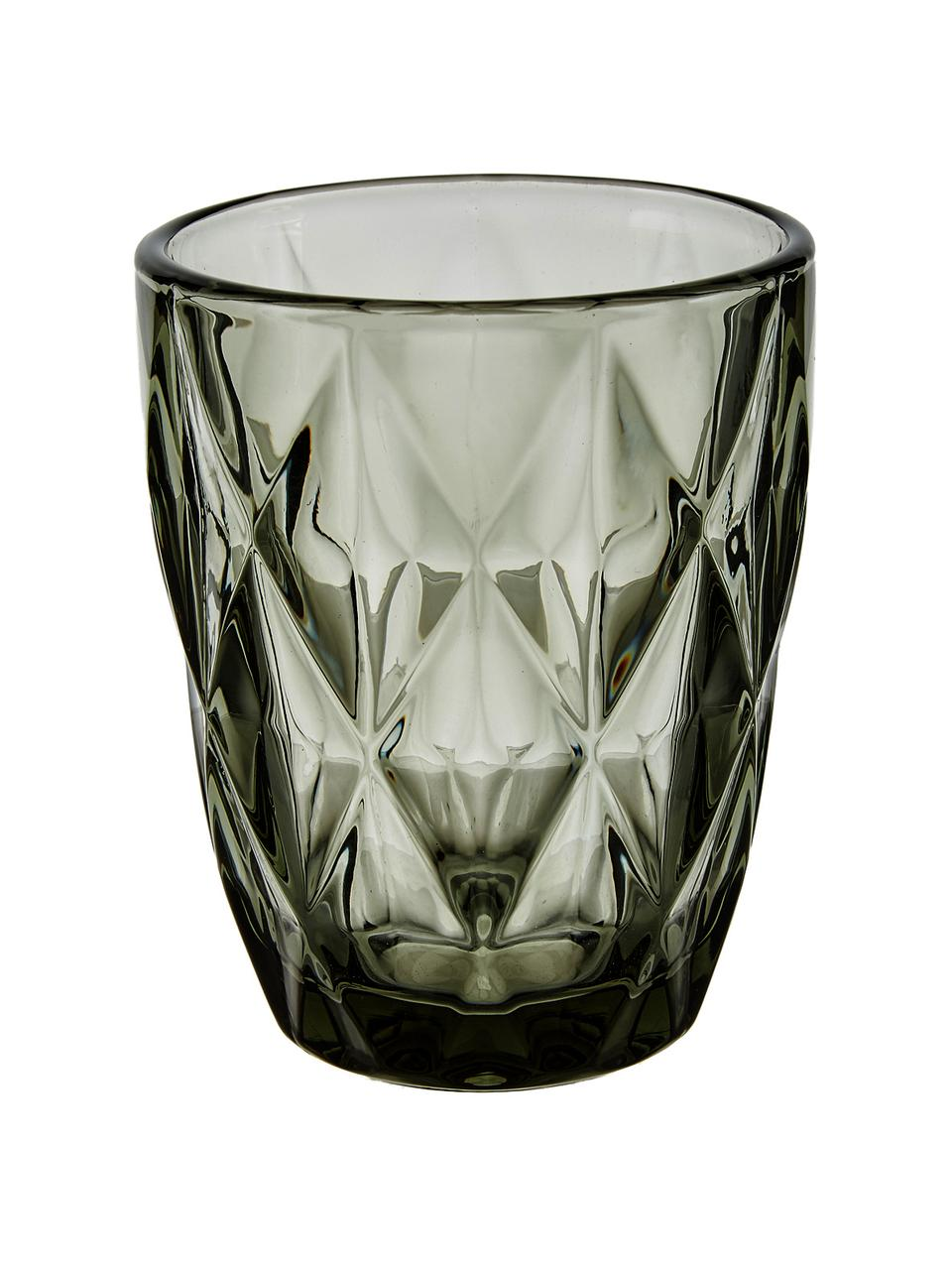 Set 4 bicchieri acqua con motivo a rilievo Colorado, Vetro, Verde, rosa, blu, grigio, Ø 8 x Alt. 10 cm