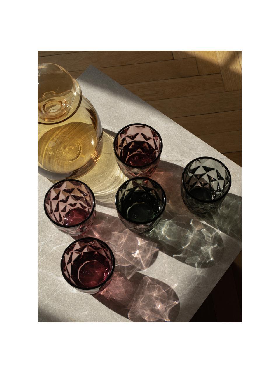 Komplet szklanek Colorado, 4 elem., Szkło, Zielony, blady różowy, niebieski, szary, Ø 8 x W 10 cm