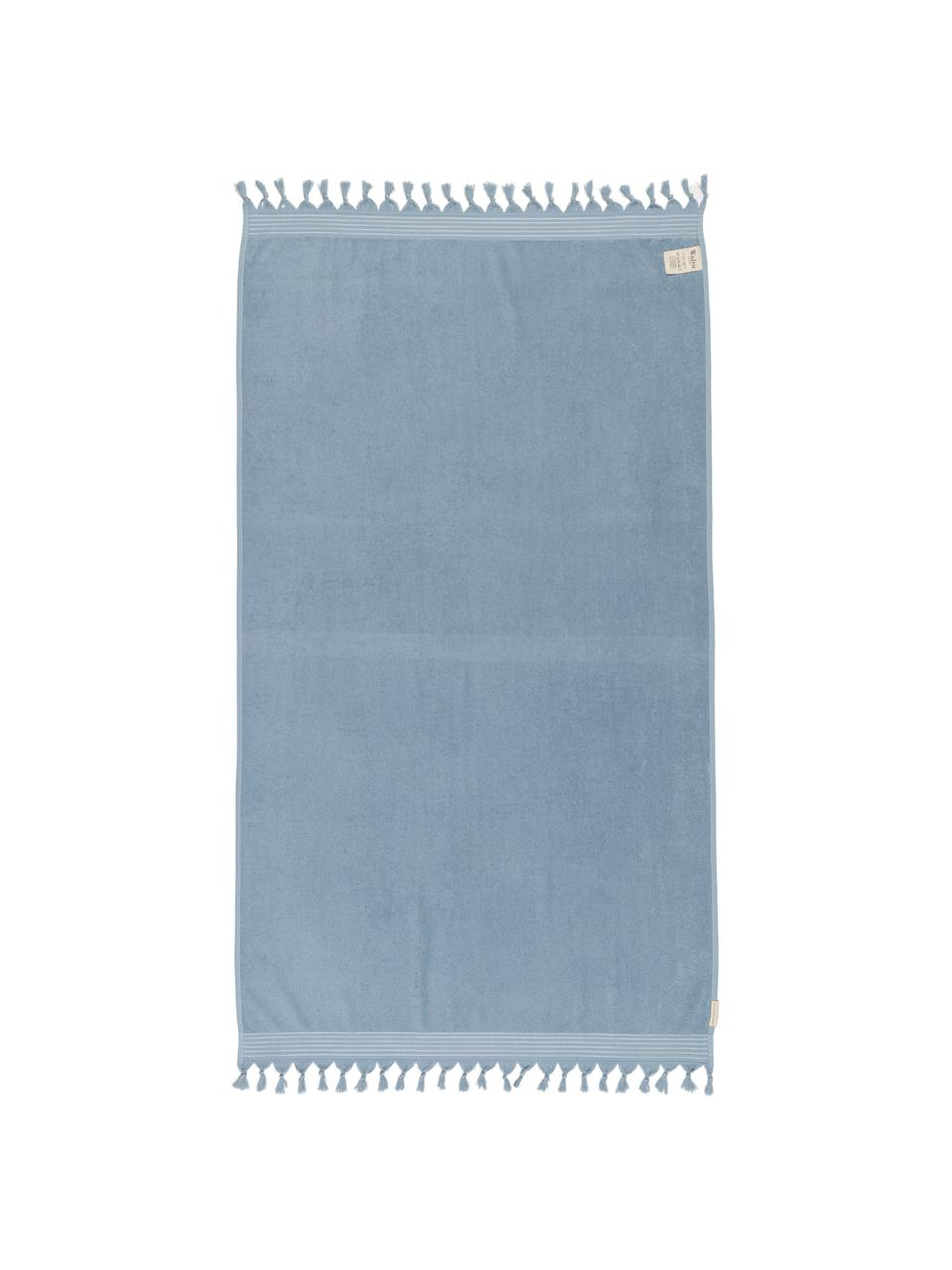 Hamamtuch Soft Cotton mit Frottee-Rückseite, Rückseite: Frottee, Blau, Weiß, 100 x 180 cm