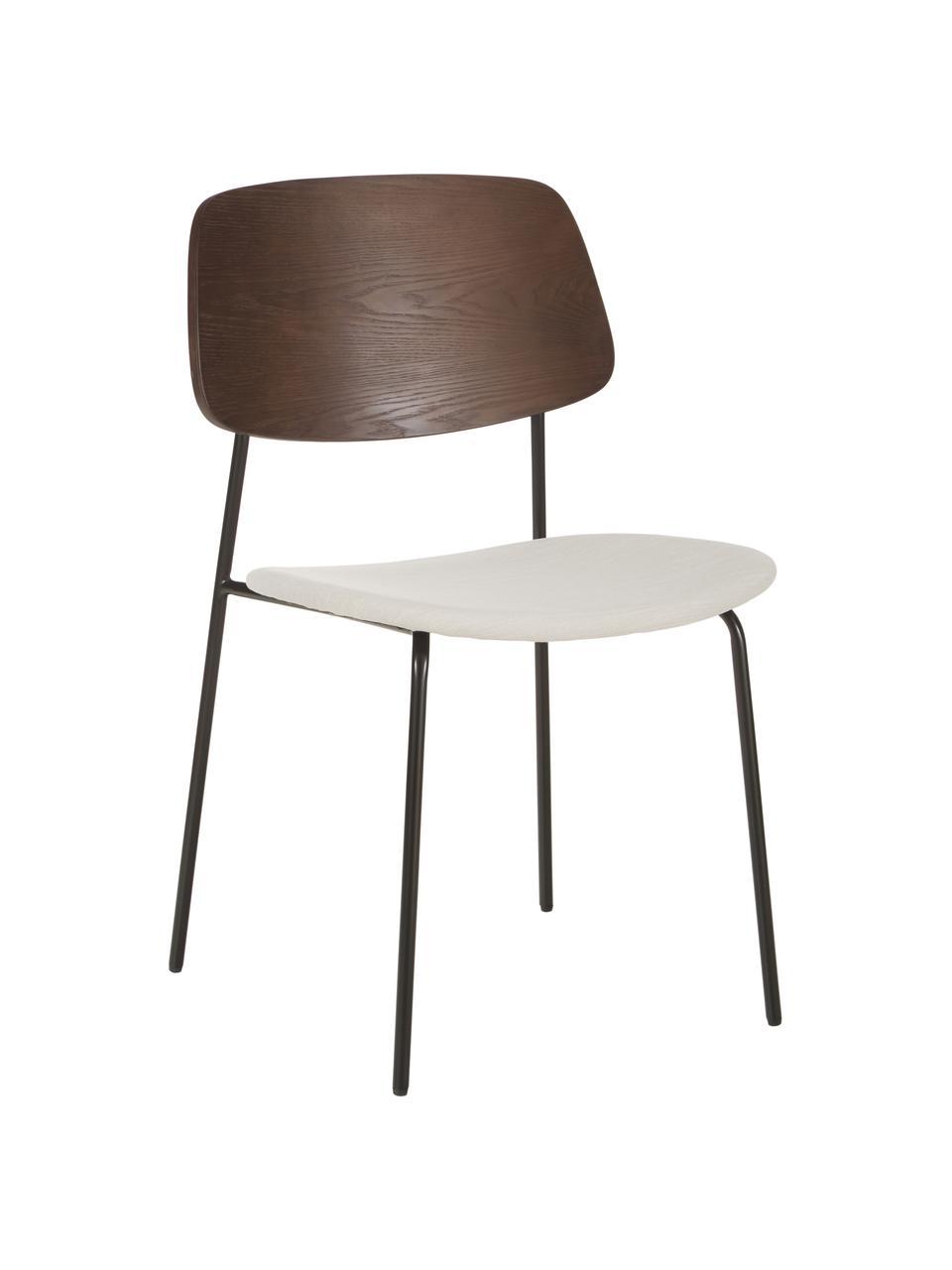 Chaise avec assise rembourrée Nadja, 2pièces, Blanc crème