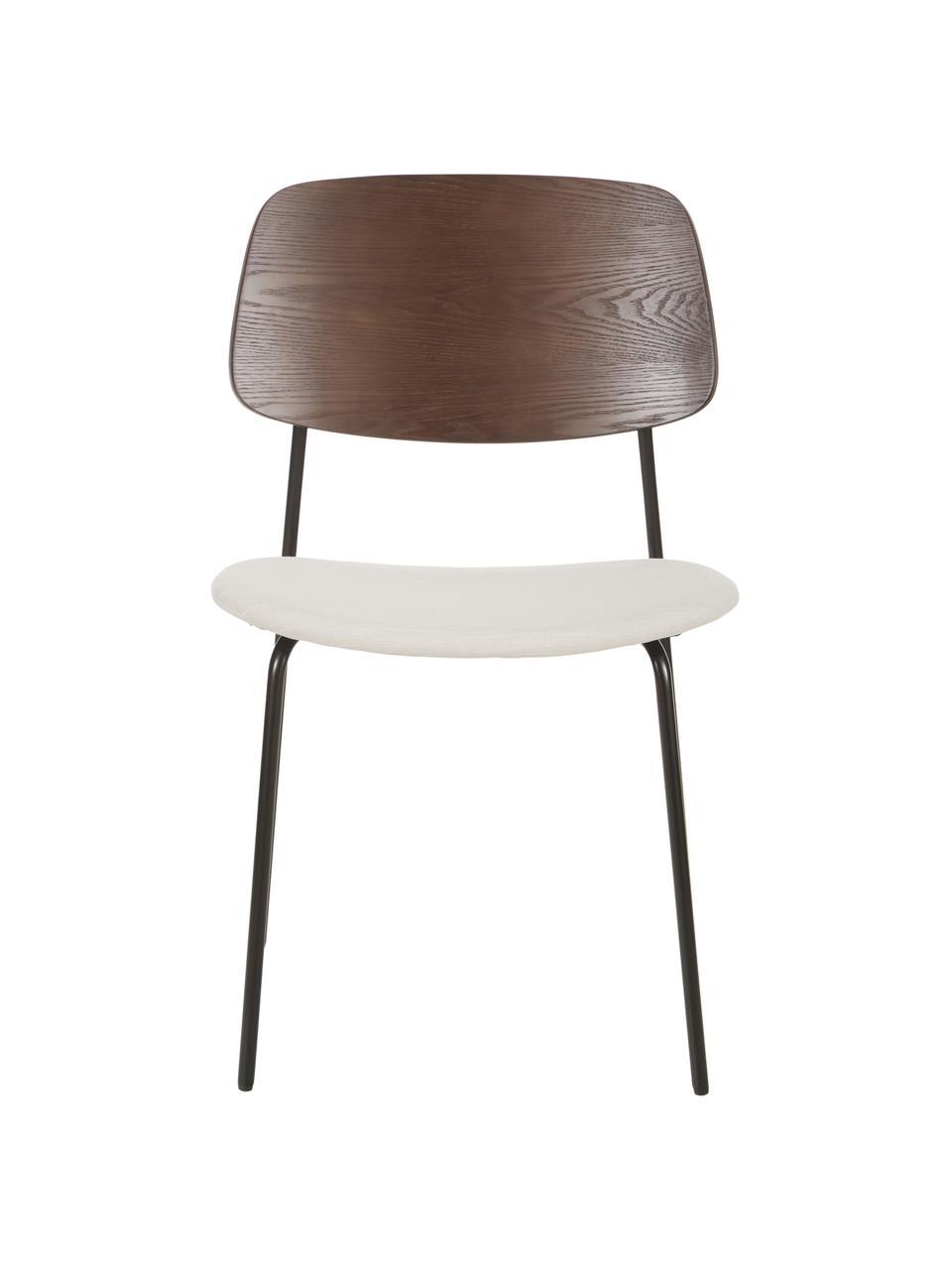 Houten stoelen Nadja met gestoffeerde zitvlak, 2 stuks, Bekleding: polyester, Poten: gepoedercoat metaal, Crèmewit, 51 x 52 cm