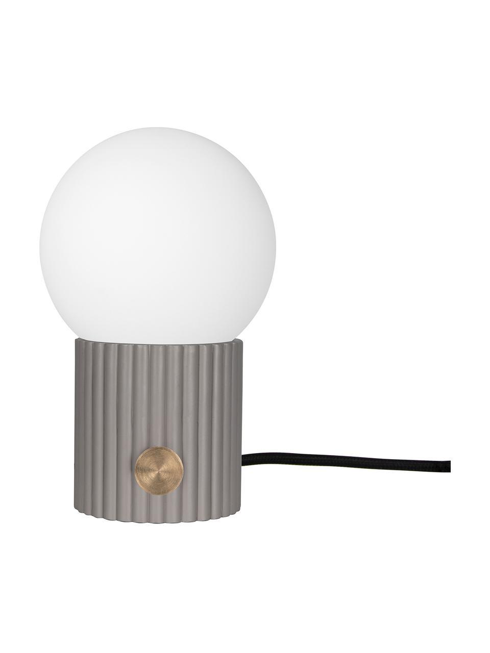 Lampada da comodino dimmerabile Hubble, Paralume: vetro opale, Base della lampada: poliresina, Interruttore: metallo, Grigio, bianco, Ø 15 x Alt. 24 cm