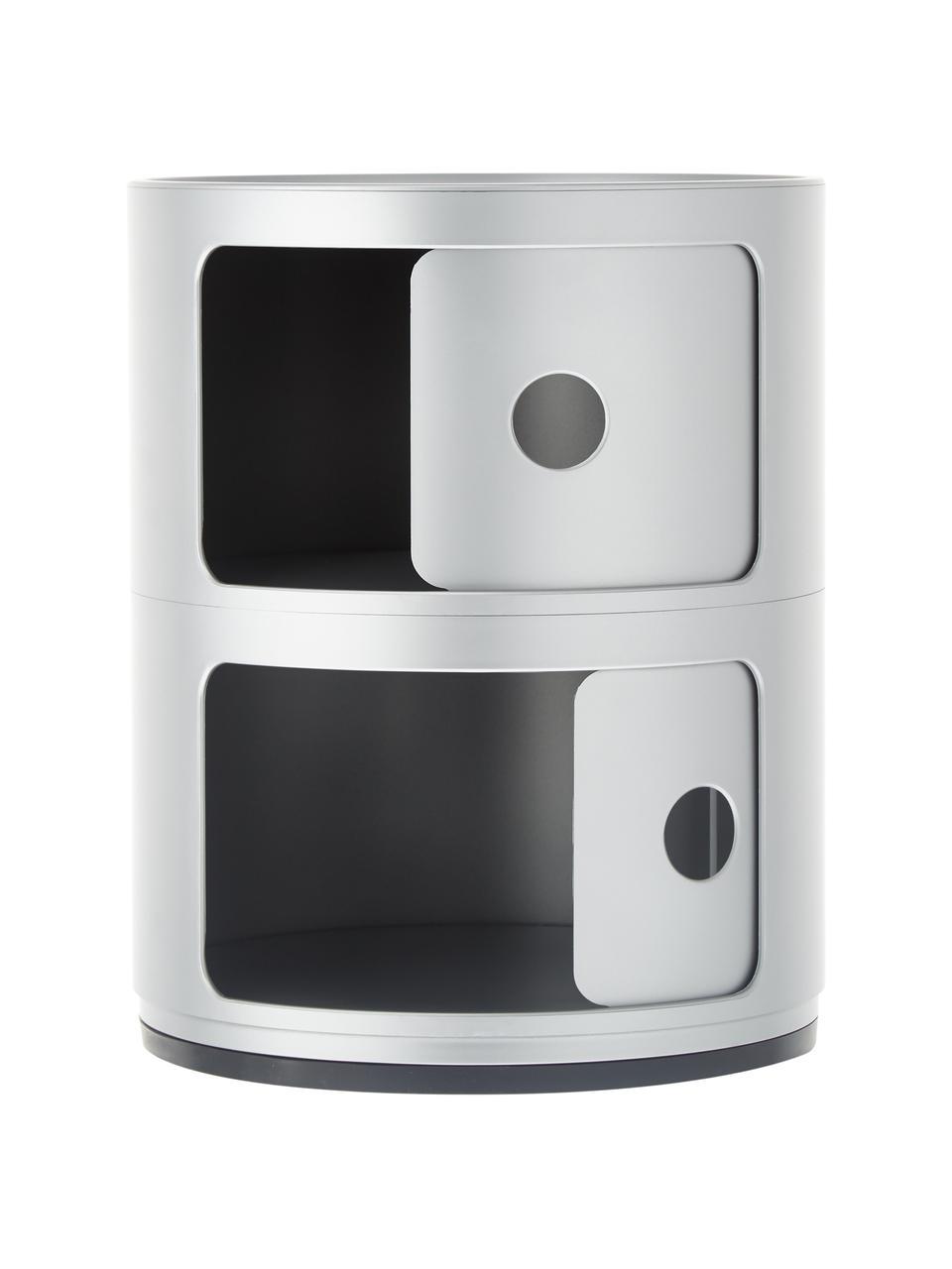 Design bijzettafel Componibile, 2 vakken, Kunststof, Zilverkleurig, Ø 32 x H 40 cm